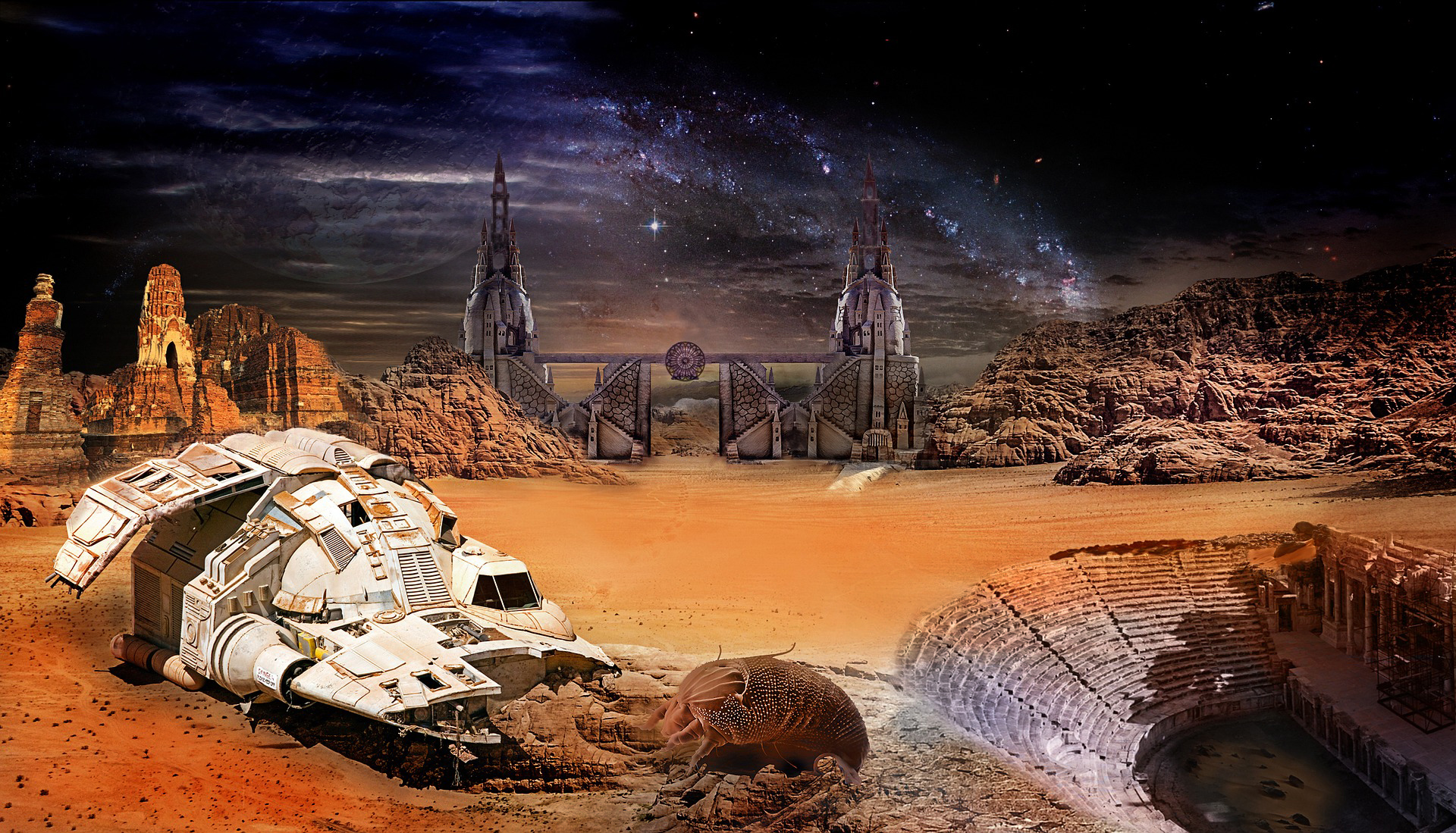 a space station on a planet or moon – not on earth